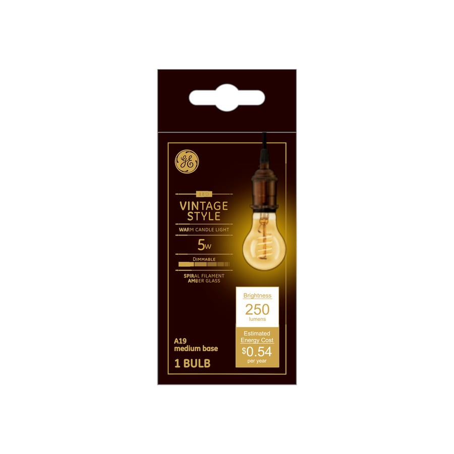 Ge Vintage 60 Watt Eq A19 Amber Dimmable Edison Light Bulb In The Decorative Light Bulbs Department At Lowes Com