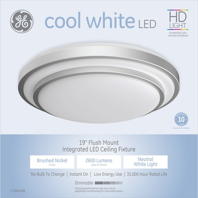 Ge 19 In Brushed Nickel Traditional Led Semi Flush Mount Light At