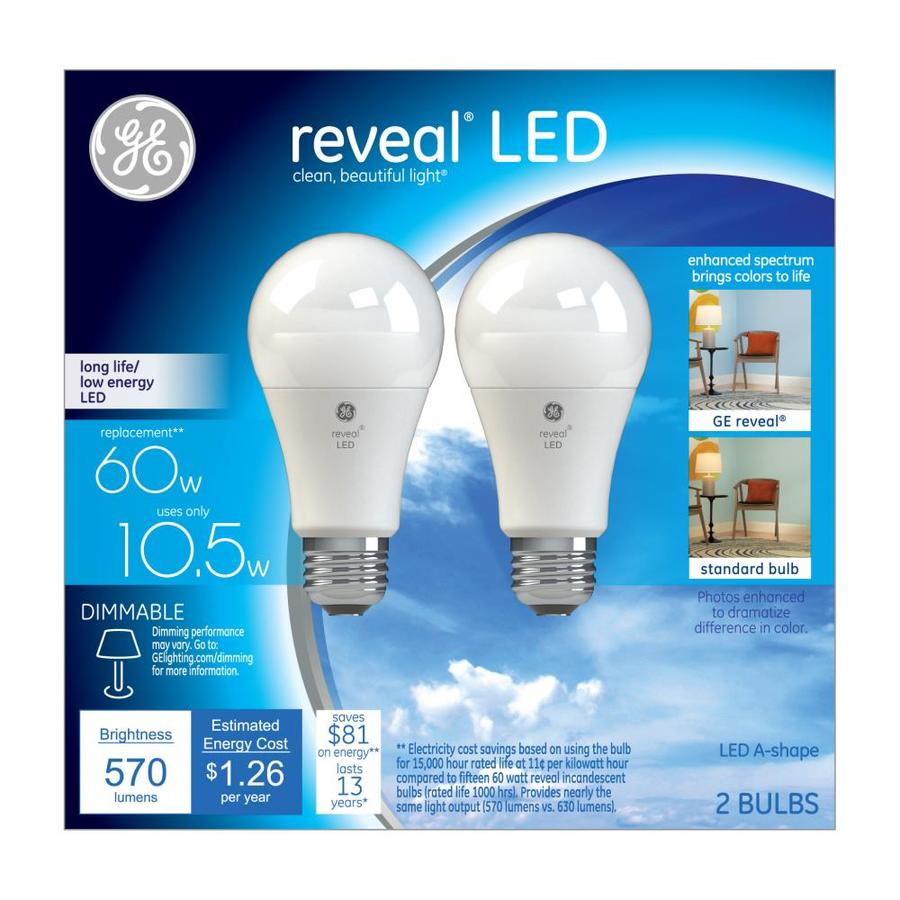 GE 2-Pack 60W Equivalent Color-Enhancing A19 LED Light Fixture Light Bulbs