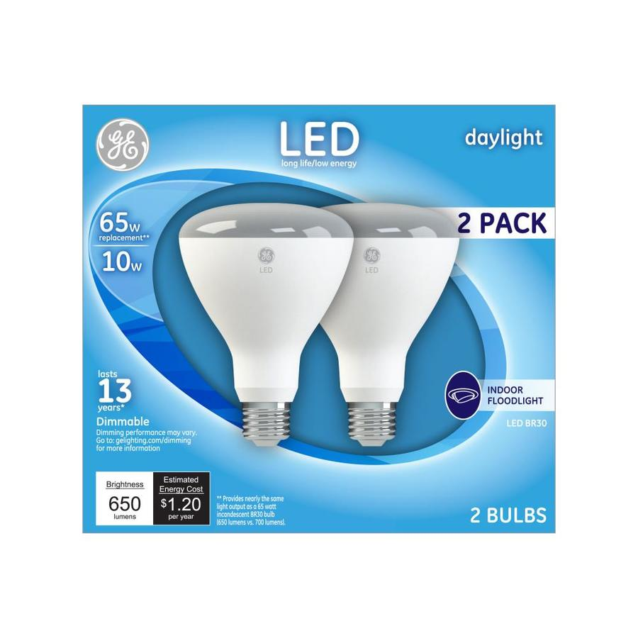 Shop Ge Na 2 Pack 65 W Equivalent Dimmable Daylight Br30 Led Flood Light Bulb At