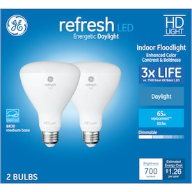 GE Refresh 65-Watt EQ LED Br30 Daylight Dimmable Flood Light Light Bulb (2-Pack)