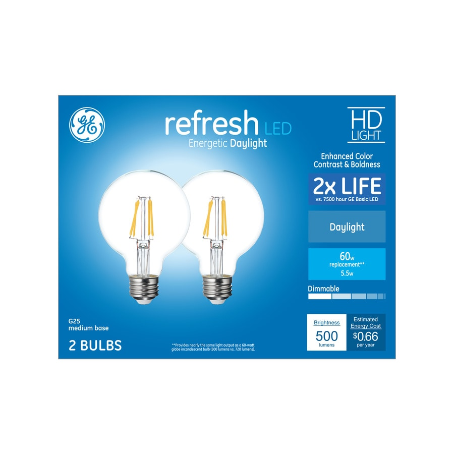 Shop ge refresh 2 pack 60 w equivalent dimmable daylight g165 led ge refresh 2 pack 60 w equivalent dimmable daylight g165 led light fixture arubaitofo Image collections
