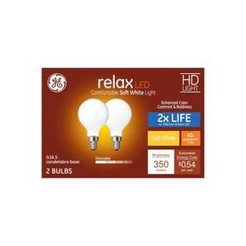 GE Relax 40-Watt EQ Soft White Dimmable Globe Light Bulb (2-Pack)