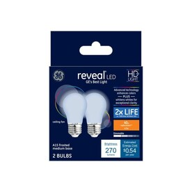 GE Reveal 40-Watt EQ A15 Color-enhancing Dimmable LED Light Bulb (2-Pack)