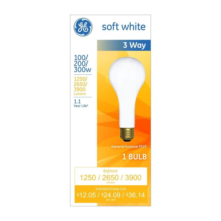 shop ge 200 watt dimmable warm white 3 way bulb ps incandescent light fixture light bulb at. Black Bedroom Furniture Sets. Home Design Ideas