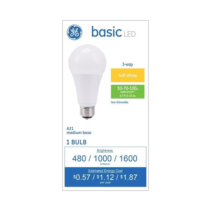 Shop GE Basic 70 W Equivalent Warm White 3-Way Bulb A21 LED Light ...