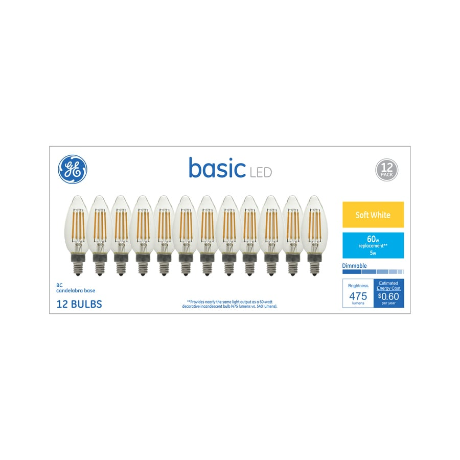Ge Basic 60 Watt Eq Soft White Decorative Light Bulb 12 Pack At