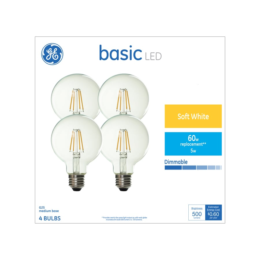 Ge Basic 60 Watt Eq Soft White Globe Light Bulb 4 Pack