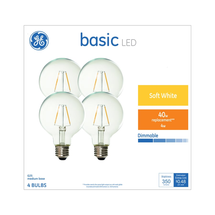 Shop GE Basic Pack W Equivalent Warm White G LED Light - Basic light fixture