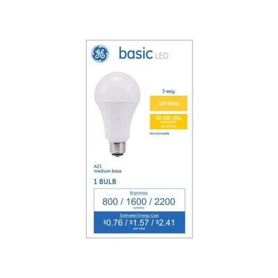 Basic 100 Watt Eq A21 Warm White 3 Way Bulb Led Light Bulb