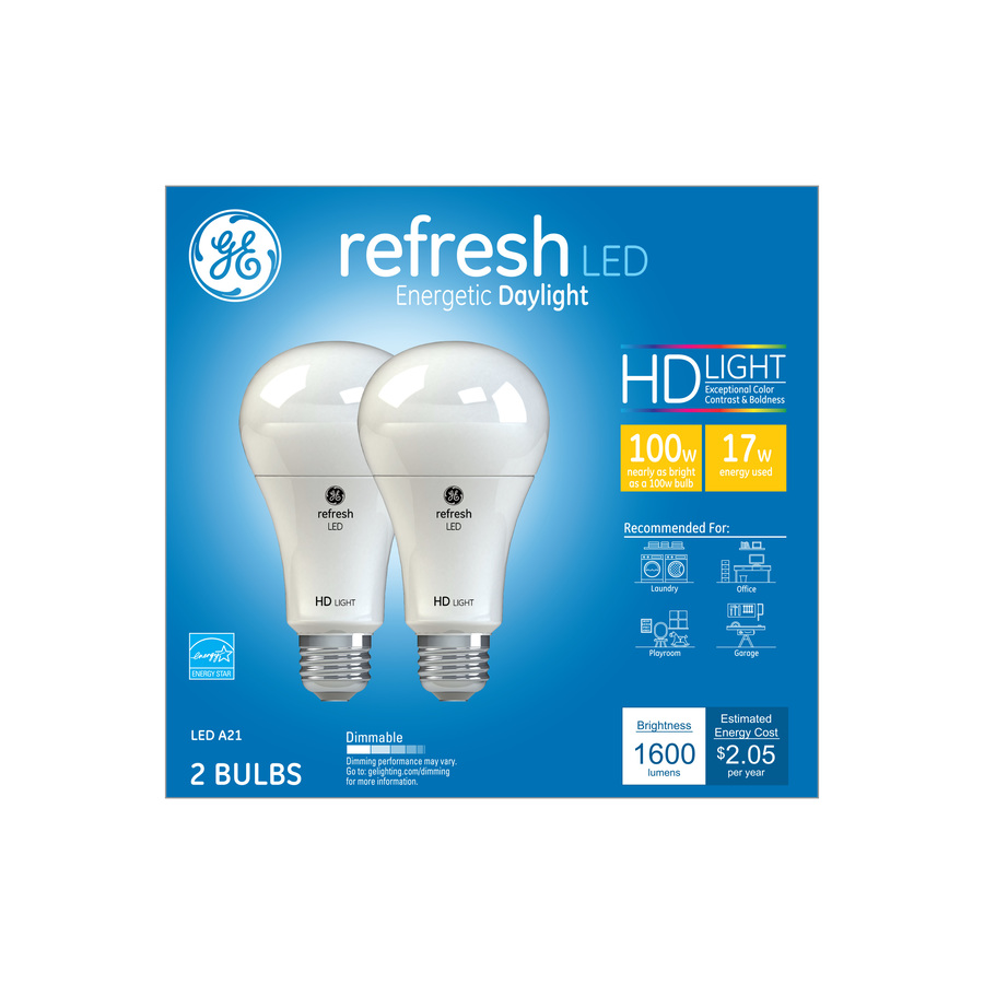 shop ge refresh 100 watt eq daylight dimmable light bulbs 2 pack at. Black Bedroom Furniture Sets. Home Design Ideas