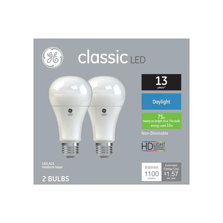 Ge 75 Watt Eq Daylight A Style Led Light Bulb 2 Pack At Lowescom