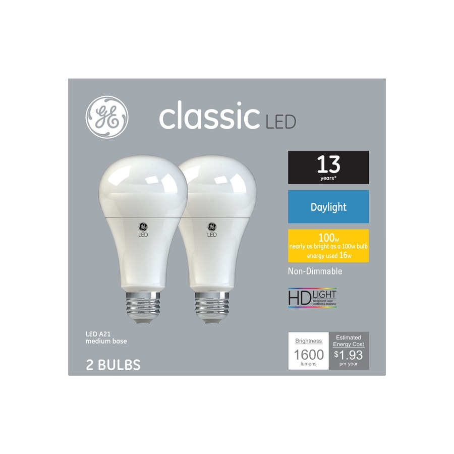 Ge Clic 100 Watt Eq A21 Daylight Led Light Bulb 2 Pack