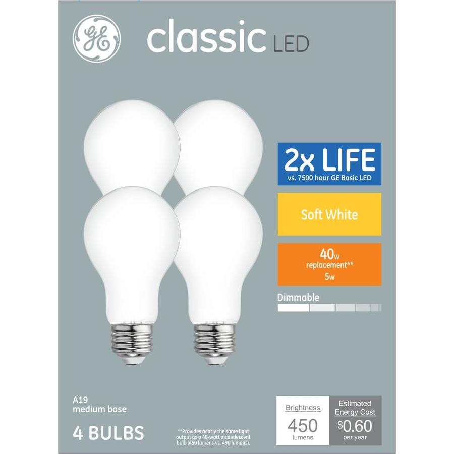 Ge Classic 40 Watt Eq A19 Soft White Dimmable Led Light Bulb 4 Pack In The General Purpose Led Light Bulbs Department At Lowes Com