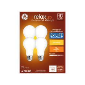 GE Relax 40-Watt EQ A19 Soft White Dimmable LED Light Bulb (4-Pack)