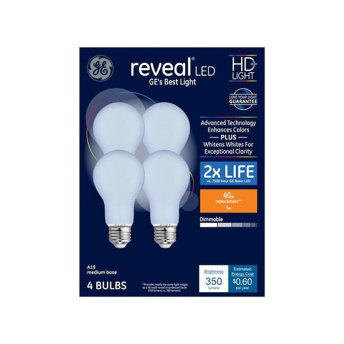 Ge Reveal 40 Watt Eq A19 Color Enhancing Dimmable Led Light Bulb 4 Pack In The General Purpose Led Light Bulbs Department At Lowes Com