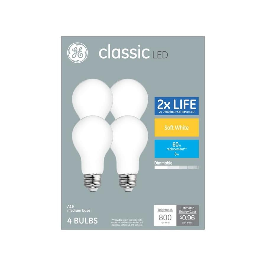 Shop GE Classic 4-Pack 60 W Equivalent Dimmable Warm White A19 LED ...