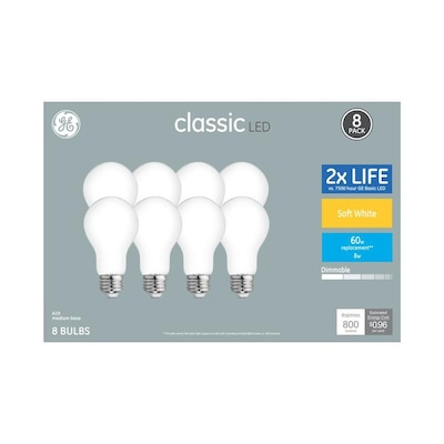 Clic 60 Watt Eq A19 Soft White Dimmable Led Light Bulb 8 Pack