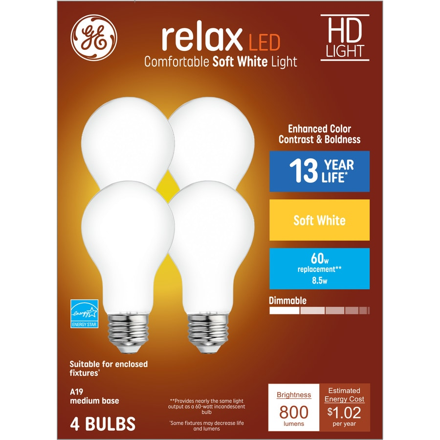 Shop GE Relax 4-Pack 60 W Equivalent Dimmable Warm White A19 LED ...