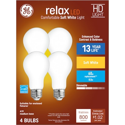 Relax 60 Watt Eq A19 Warm White Dimmable Led Light Bulb 4 Pack