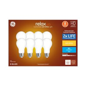 GE Relax 60-Watt EQ A19 Soft White Dimmable LED Light Bulb (8-Pack)