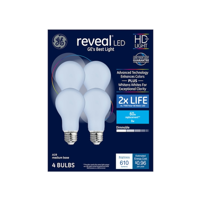 Ge Reveal 60 Watt Eq A19 Color Enhancing Dimmable Led Light Bulb 4 Pack In The General Purpose Led Light Bulbs Department At Lowes Com