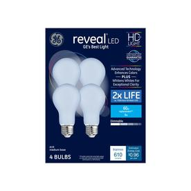 GE Reveal 60-Watt EQ A19 Color-enhancing Dimmable LED Light Bulb (4-Pack)
