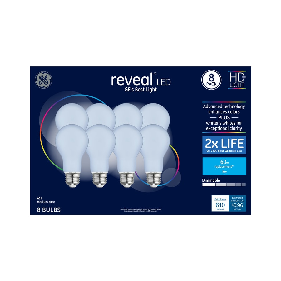 Ge Reveal 60 Watt Eq Color Enhancing Dimmable Light Bulbs 8 Pack At Lowes Com