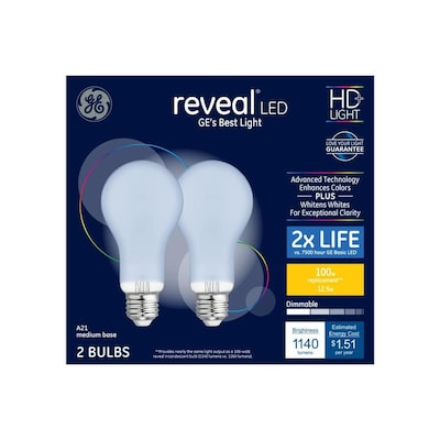Reveal 100 Watt Eq A21 Color Enhancing Dimmable Led Light Bulb 2 Pack