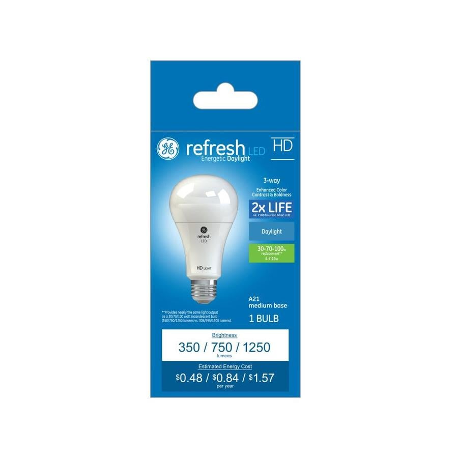 shop ge refresh w equivalent dimmable daylight 3 way bulb a21 led light fixture light bulb at. Black Bedroom Furniture Sets. Home Design Ideas