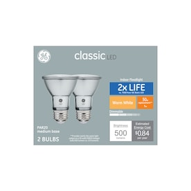 GE Classic 50-Watt EQ LED Par20 Warm White Dimmable Flood Light Bulb (2-Pack)