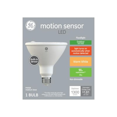 Motion Sensor 90 Watt Eq Led Par38 Warm White Dimmable Flood Light Bulb