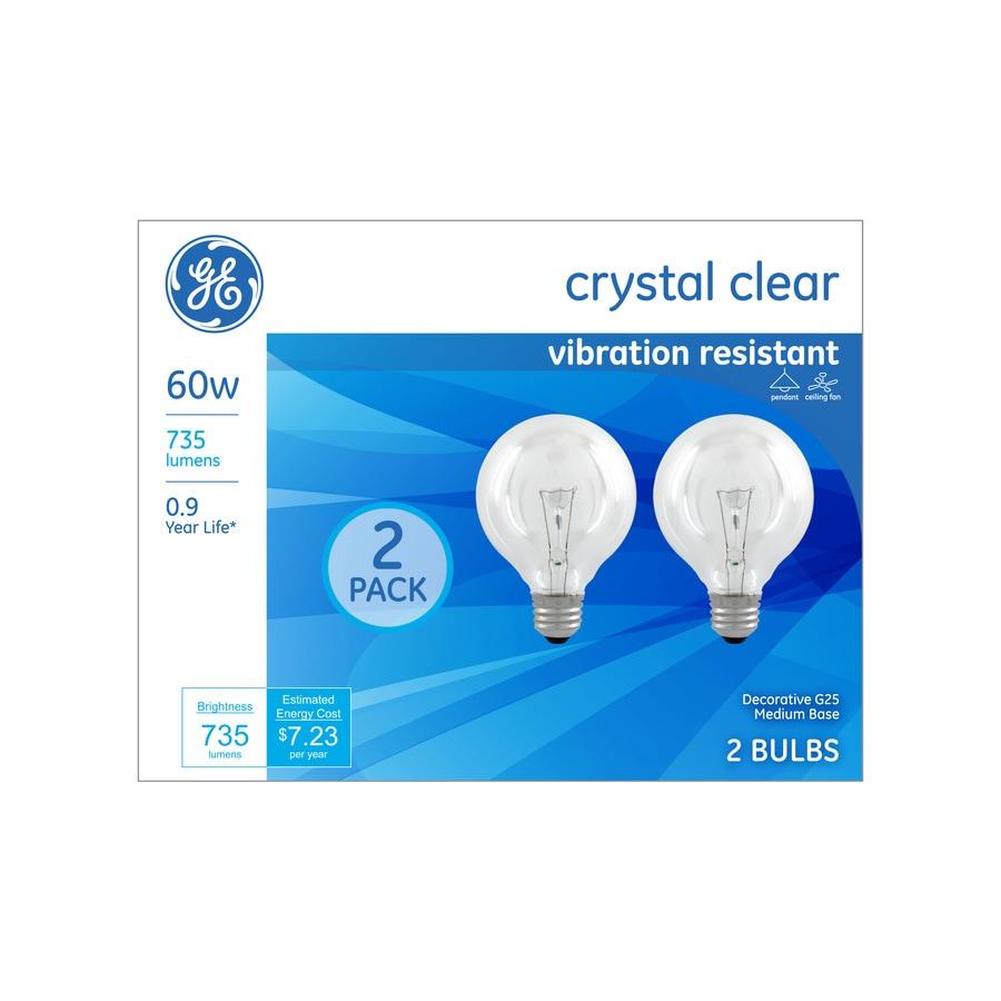 Ge Classic 60 Watt Dimmable G25 Decorative Incandescent Light Bulbs