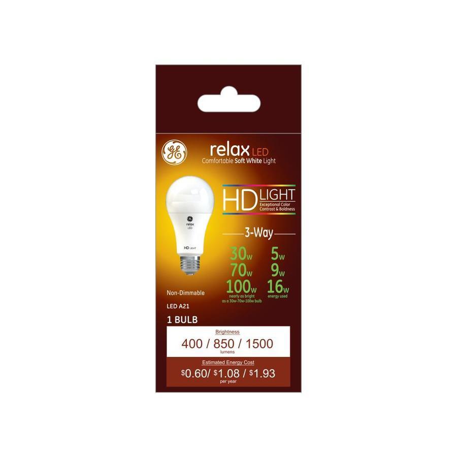 Ge Relax 100 Watt Eq A21 Soft White 3 Way Bulb Led Light
