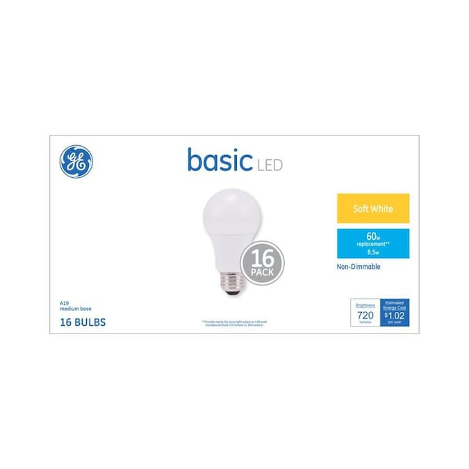 Ge Basic 60 Watt Eq A19 Soft White Led Light Bulb 16 Pack In The General Purpose Led Light Bulbs Department At Lowes Com