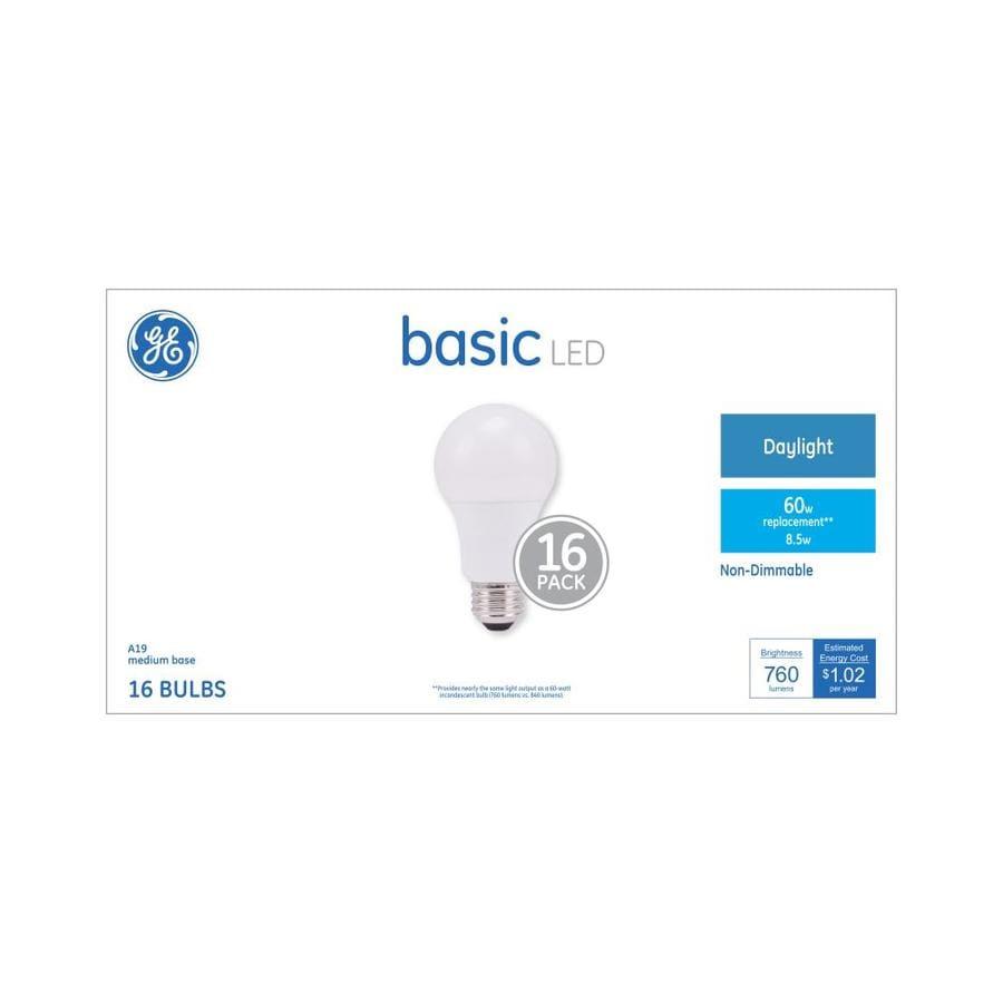 Ge Basic 16 Pack 60 W Equivalent Daylight A19 Led Light Fixture Bulbs
