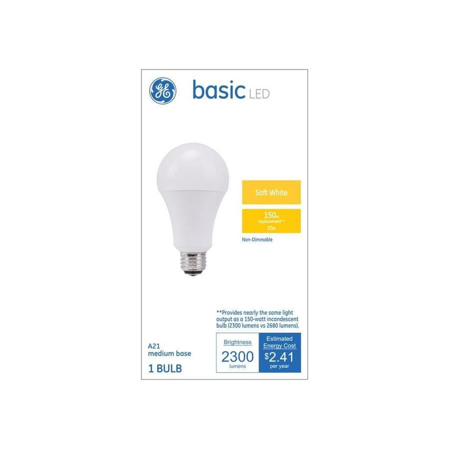 Shop GE Basic W Equivalent Warm White A LED Light Fixture - Basic light fixture