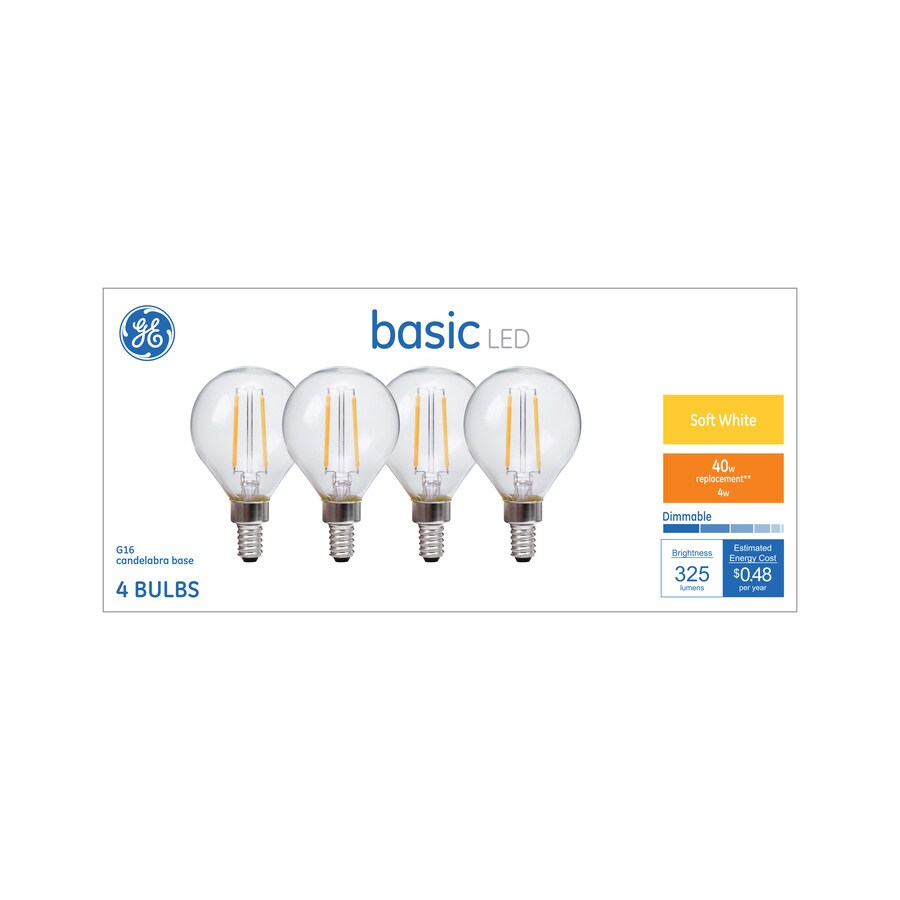 Shop GE Basic Pack W Equivalent Dimmable Warm White G LED - Basic light fixture