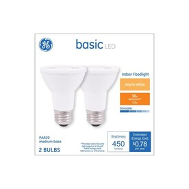 GE Basic 50-Watt EQ LED Par20 Warm White Dimmable Flood Light Bulb (2-Pack)