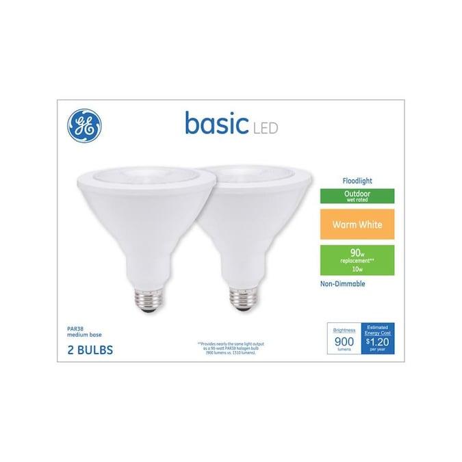 Ge Basic 90 Watt Eq Led Par38 Warm White Flood Light Light Bulb 2 Pack In The Spot Flood Led Light Bulbs Department At Lowes Com
