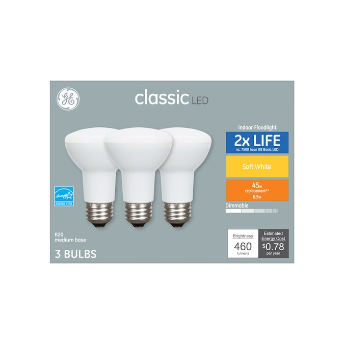 Ge Classic 45 Watt Eq Led R20 Warm White Dimmable Flood Light Light Bulb 3 Pack In The Spot Flood Led Light Bulbs Department At Lowes Com