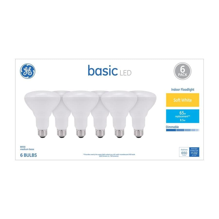 Shop GE Basic 6-Pack 65 W Equivalent Dimmable Warm White R30 LED ...