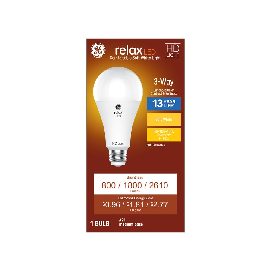 Shop GE Relax W Equivalent Dimmable Soft White 3-Way Bulb A21 LED ...