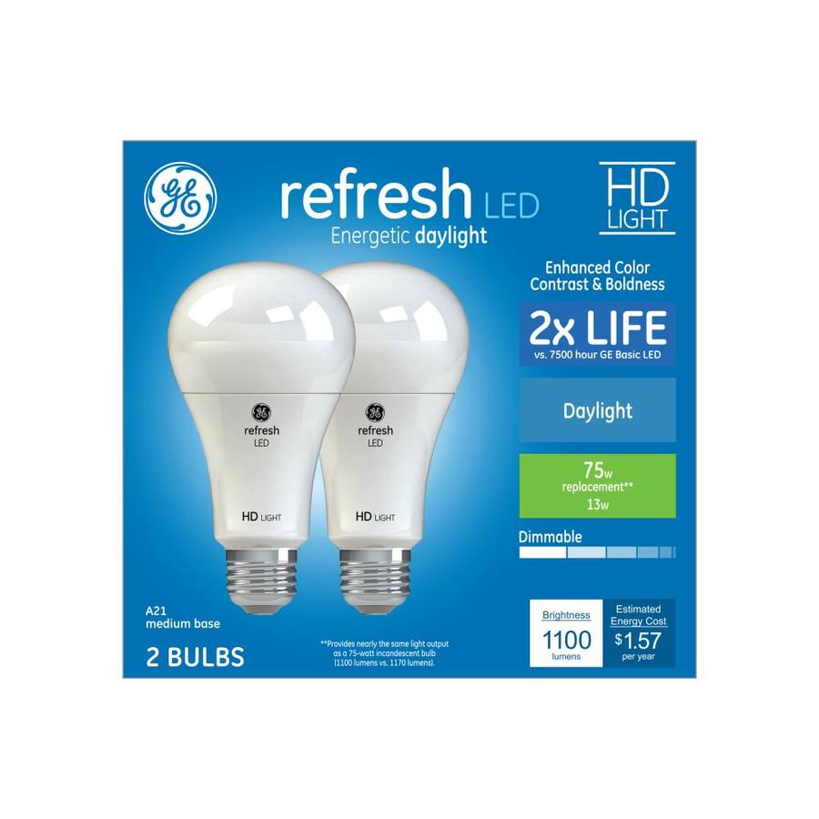 Ge Refresh 75 Watt Eq A21 Daylight Dimmable Led Light Bulb 2 Pack