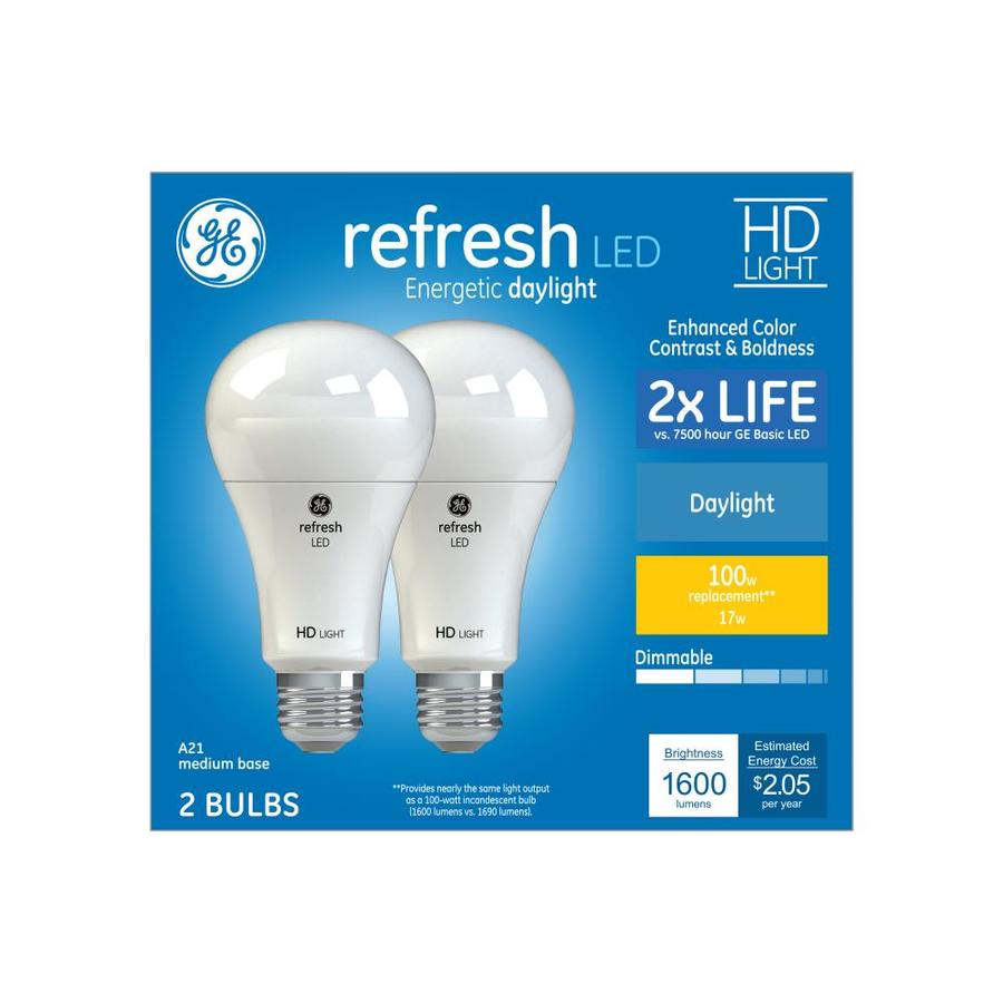 Ge Refresh 100 Watt Eq A21 Daylight Dimmable Led Light Bulb 2 Pack