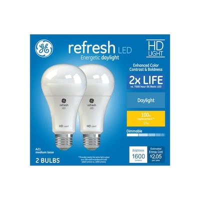Refresh 100 Watt Eq A21 Daylight Dimmable Led Light Bulb 2 Pack