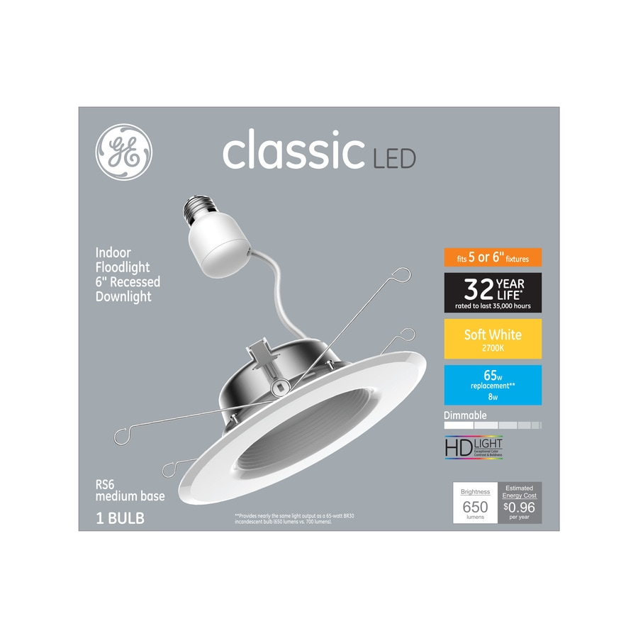Ge Classic 65 Watt Equivalent White Dimmable Led Recessed