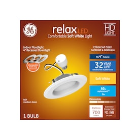 GE Relax Integrated LED 5-in or 6-in 50-Watt Equivalent White Round Dimmable Recessed Downlight