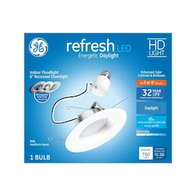 GE Refresh Integrated LED 5-in or 6-in 65-Watt Equivalent White Round Dimmable Recessed Downlight