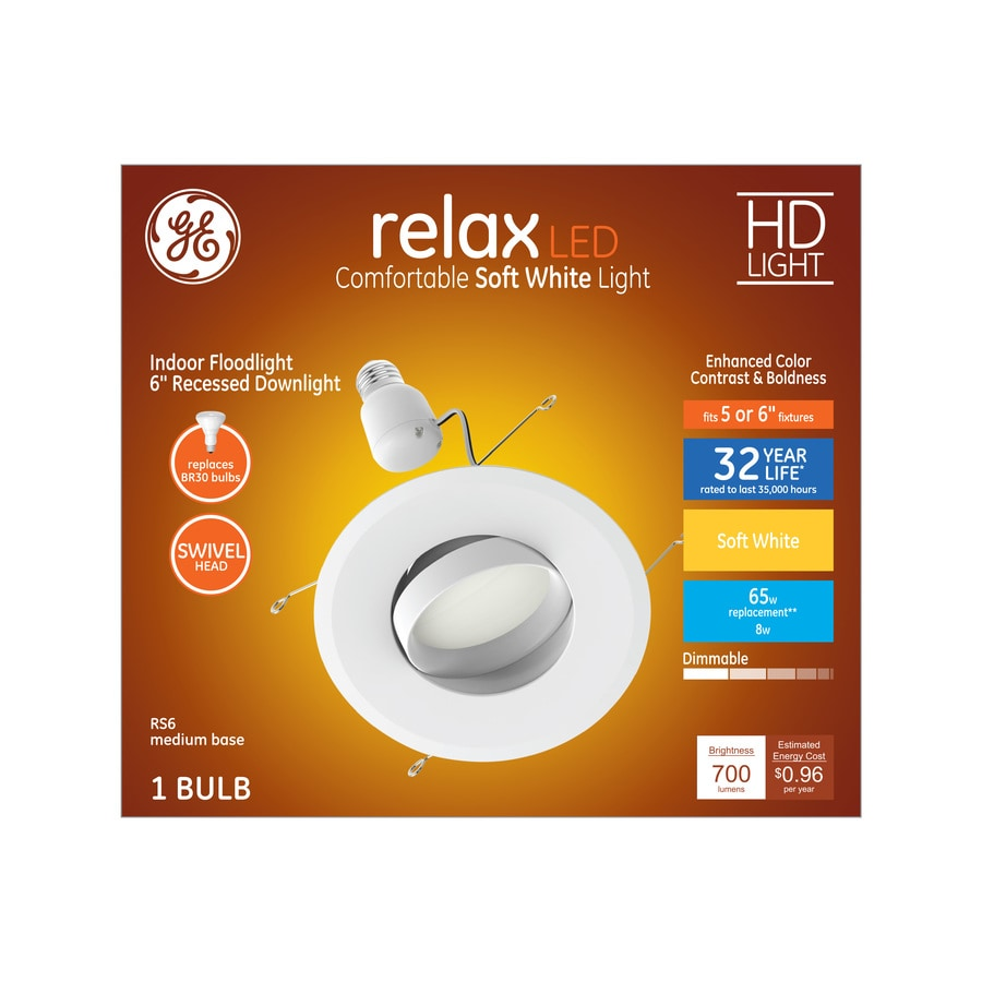 Ge 1 Pack Relax 65 Watt Equivalent White Dimmable Led